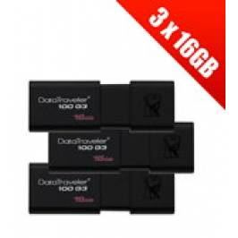 Product information 3 x Kingston Technology 16GB DataTraveler 100 Generation 3 USB 3.0 Drives (Multipack of 3 Drives)