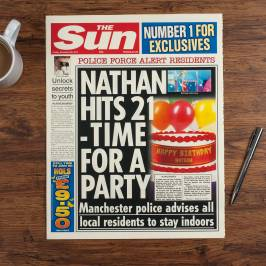 Product information The Sun Personalised Spoof Newspaper Article - Birthday