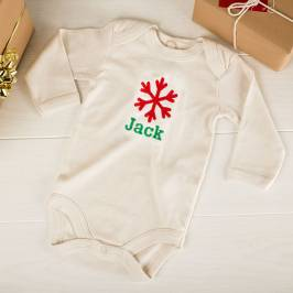Product information Personalised Beige Organic Cotton Long Sleeve Baby Grow - Snowflake