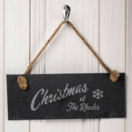 Product information Engraved Hanging Slate Sign - Family Christmas