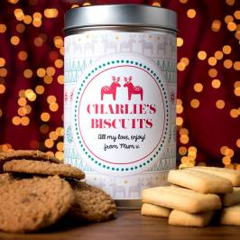 Product information Personalised Christmas Tin with Biscuits
