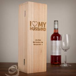 Product information Personalised Luxury Wooden Wine Box - I Heart My Husband