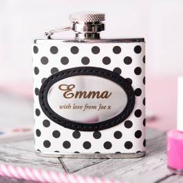 Product information Personalised Polka Dot Print Hip Flask