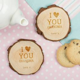 Product information Set of Two Tree Carving Coasters - I Love You Grandma