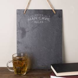 Product information Personalised Hanging Slate Chalkboard - Man Cave Rules