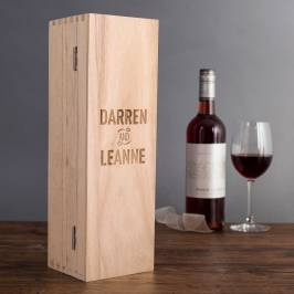 Product information Personalised Luxury Wooden Wine Box - Couple's Names