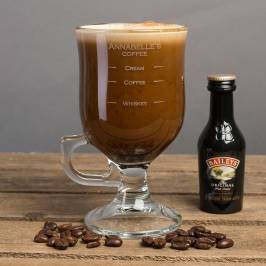Product information Personalised Irish Coffee Glass With Baileys Miniature - Whiskey Measure