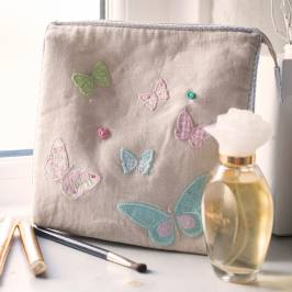 Product information Personalised White Butterfly Toiletry Bag