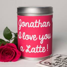 Product information Personalised Coffee Tin - I Love You A Latte