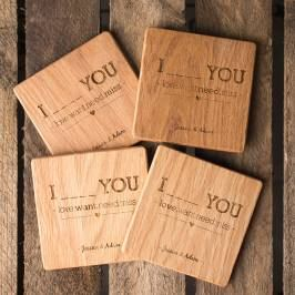 Product information Personalised Set Of 4 Wooden Coasters - Four Words