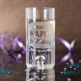Product information Personalised Shot Glass With Miniature - Happy Birthday