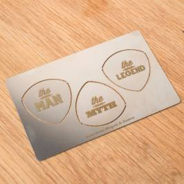 Product information Personalised Wallet Guitar Plectrums - The Man, The Myth, The Legend