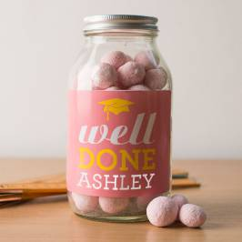 Product information Personalised Jar of Strawberry Bonbons - Well Done