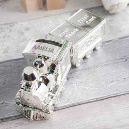 Product information Personalised Train Money Box With Tooth & Curl Carriage