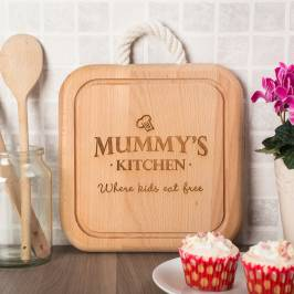 Product information Engraved Wooden Square Board With Rope Handle - Mummy's Kitchen
