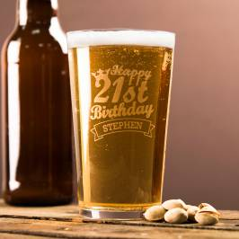 Product information Personalised Pint Glass - 21st Birthday Crown
