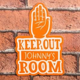 Product information Personalised Orange Room Sign - Keep Out