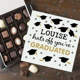 Product information Personalised Belgian Chocolates - Hats Off You've Graduated