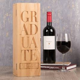 Product information Personalised Luxury Wooden Wine Box - Graduate