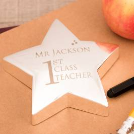 Product information Engraved Special Silver Star Paperweight - First Class Teacher