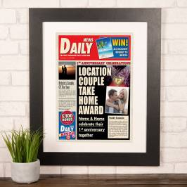 Product information Photo Upload Spoof Newspaper Print - 1st Anniversary