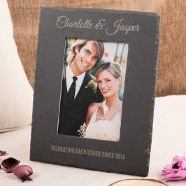Product information Engraved Medium Slate Photo Frame - Any Message