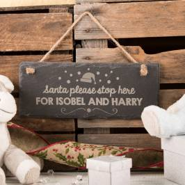 Product information Personalised Hanging Slate Sign - Santa Please Stop Here For