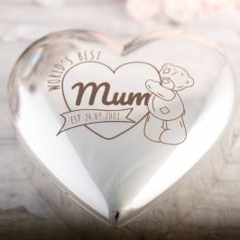 Product information Engraved Me to You Silver-Plated Heart-Shaped Trinket Box - World's Best Mum
